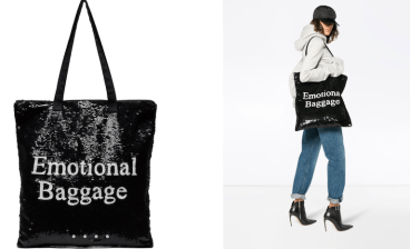 Black Emotional Baggage Sequin Tote Bag $900 28/3/18 @Farfetch